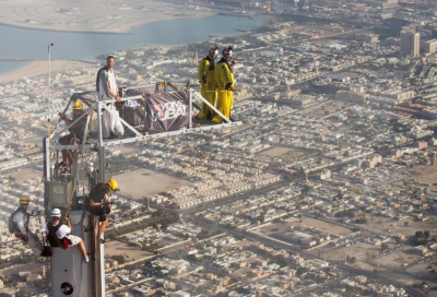 Base jumping off the Burj