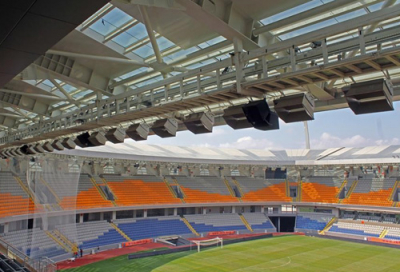 Football stadium equipped with Electro-Voice
