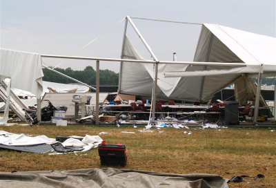 Winds topple tents at Dutch festival