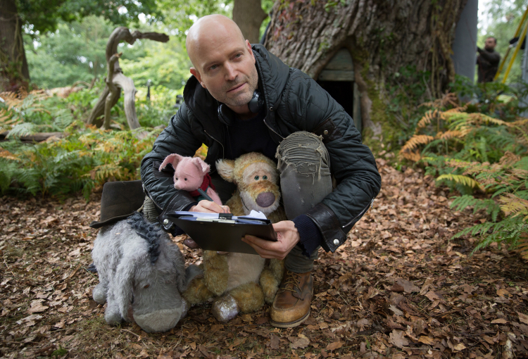 Marc-Forster-with-Eeyore,-Piglet-and-Tigger-on-the-set-of-Disney's-CHRISTOPHER-ROBIN