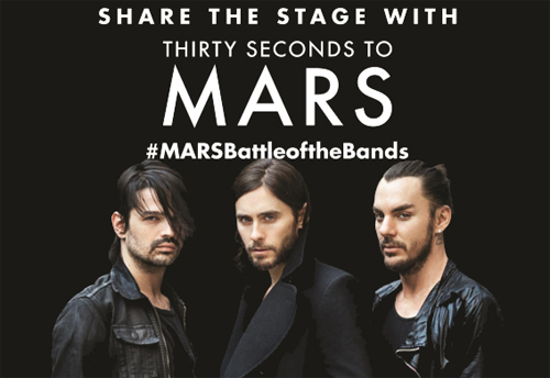 #MARSBattleoftheBands, #MARSinDubai, 30 seconds to mars, Bands, Battle of the bands, Comic Con, Competition, Concert, Dubai, Gig, Jared Leto, Liva Nation, Local, Meet and greet, Perform, PLAY, Rock, Thirty Seconds to Mars, Tickets, Where, Win, News, Content production