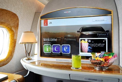 One of the 32-inch First Class screens on a newly-delivered Emirates B777-300ER.