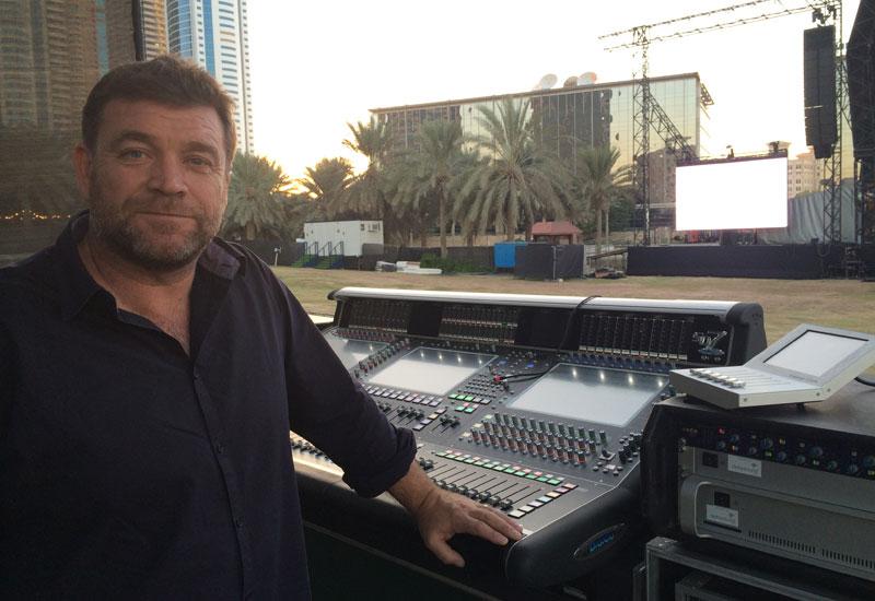 Jackson on site for soundcheck at Dubai Media City Amphitheatre.