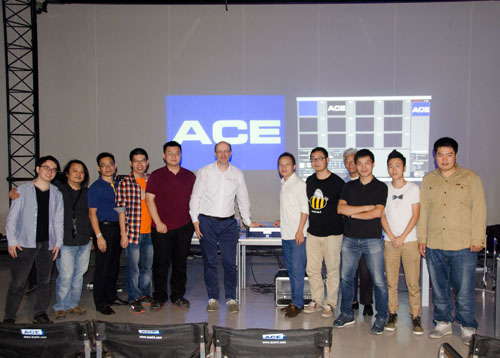 ArKaos CEO Marco Hinic leads the training for ACE's team at the Beijing offices.