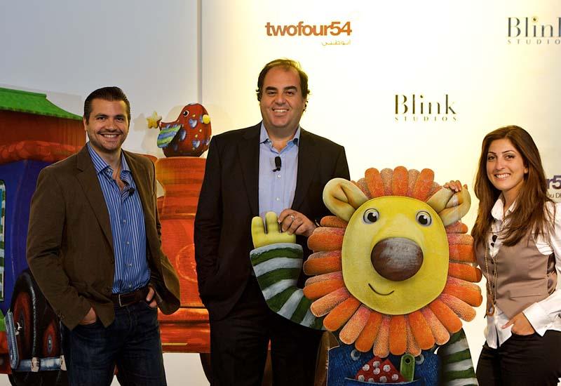 twofour54 COO Wayne Borg flanked by Tarek Mounir and Lea Badro of Blink Studios.