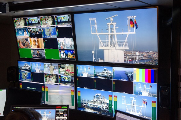 The broadcast control centre is the most advanced on any ship