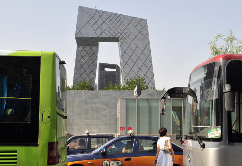 A file photo of CCTV's headquarters in Beijing.