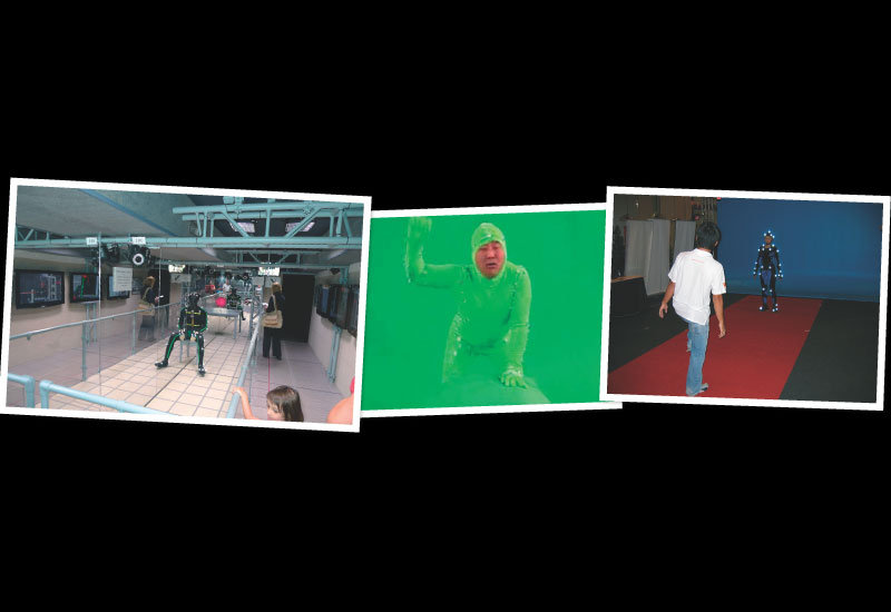 The motion capture cameras capture the light positions as the actors move and enact their scenes