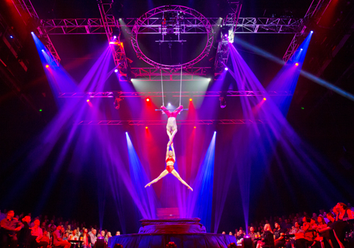 Cirque Le Noir takes place in a 360-degree custom-built stage setting.