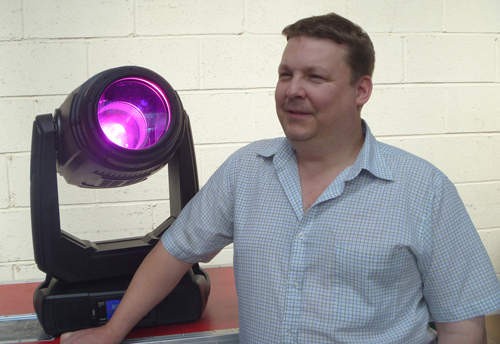 """Haydn """"H"""" Cruickshank with one of the new BMFL fixtures purchased by Colour Sound Experiment."""