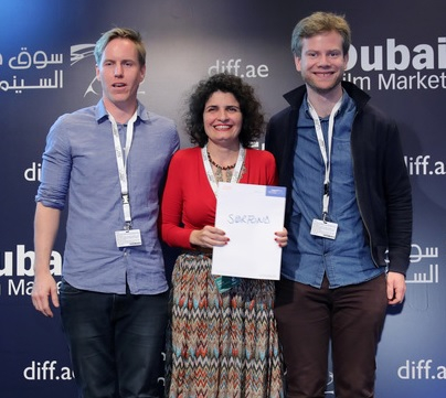 Producer Sabine Sidawi receives the Sorfond Partnership award for Girl Made of Dust during the DFC awards.