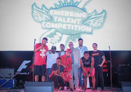 The winners S.O.S. with jury members and ETC's ambassador, DJ Saif.