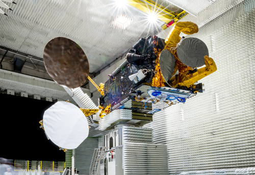 Eutelsat 8 West B satellite undergoing testing in the anechoic chamber at Thales Alenia Space in Cannes, France. Picture (c) Eutelsat.