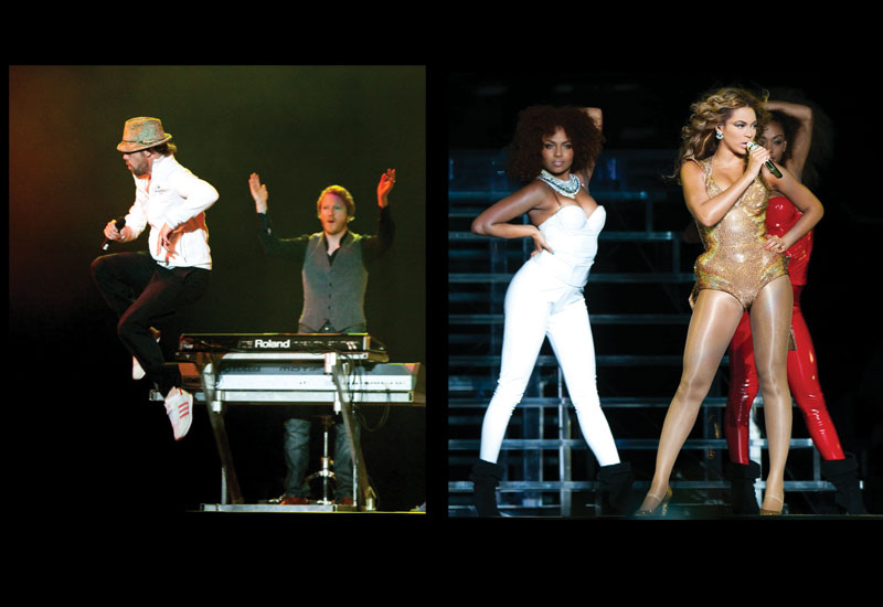 Jamiroquai headlined the second night of Yasalam, following on from Beyonce's hugely popular opening night performance (right).