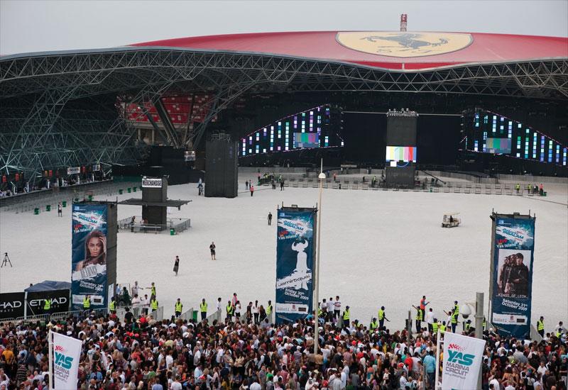 The venue, shadowed by Ferrari World.