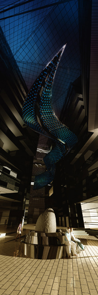 Reflective Flow will be the world?s largest interactive LED chandelier and will be installed early in 2009, in Qatar.
