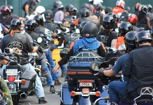 Motorcycle enthusiasts gather at Gulf Bike Week 2013.
