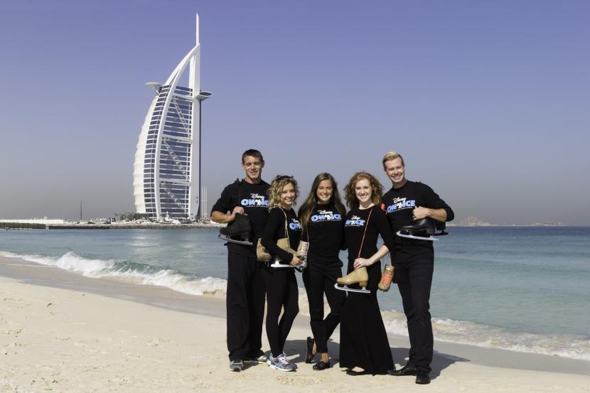 The cast soak up the Dubai sunshine.