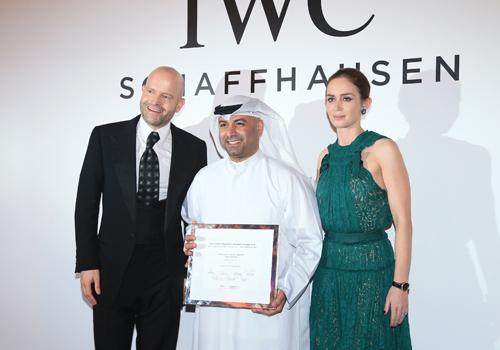 2014's IWC Filmmaker Award winner, Abdullah Boushahri, alongside Marc Forster and Emily Blunt.