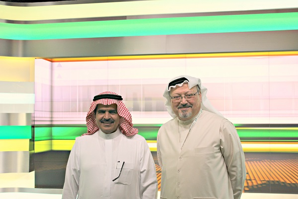 (left)-Fahad Alsukait, chairman and CEO of Alarab News, (right)-Jamal Khashoggi, general manager and editor-in-chief