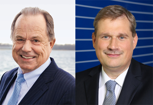 Jörg Sennheiser (left) is handing over chairmanship to Frank Heinricht (right)