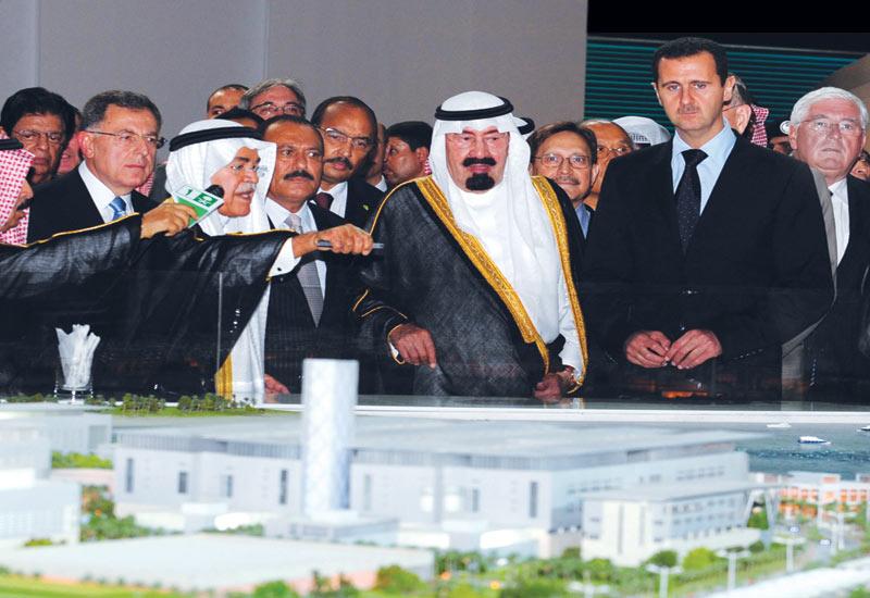 King Abdullah Bin Abdul Aziz of Saudi Arabia (centre) and Syrian President Bashar al-Assad (front right) at the launch of the King Abdullah University