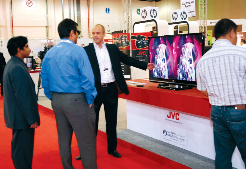 Chris Darnley of JVC shows off the new JVC 3D monitor.