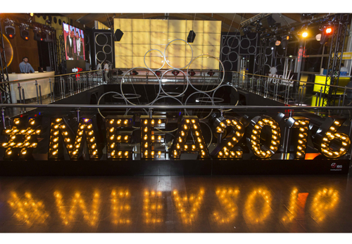 The MEEA16 shortlist party at Zero Gravity, hashtag sign (pictured) provided by IBS Group.