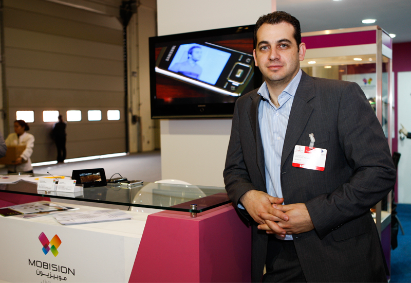 Jad Atallah, senior vice president of Mobision, at the company's CABSAT stand.