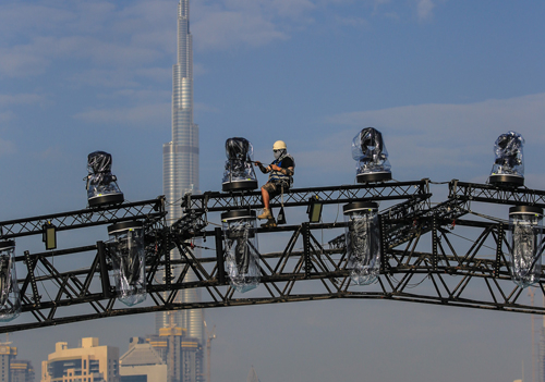 The new N&M Airdomes being installed at the Dubai National Day event.