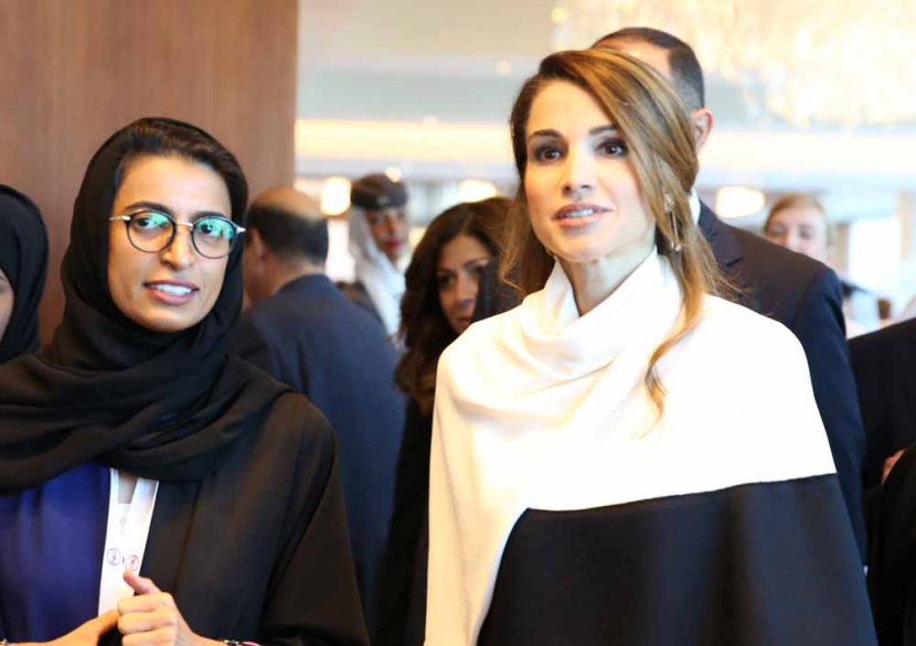 Noura Al Kaabi and Queen Rania at ADMS.