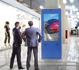 Peerless-AV's curved indoor portrait kiosk.