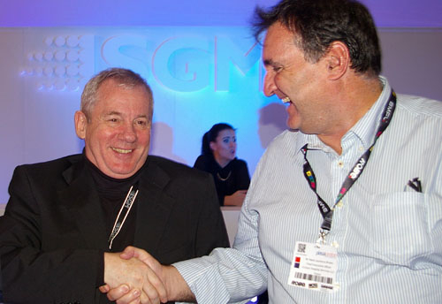 SGM's Peter Johansen and Mark Brown of eclipse Group seal the deal.