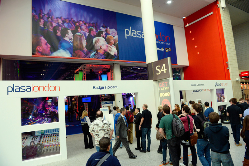 Guests arrive at PLASA London 2013.