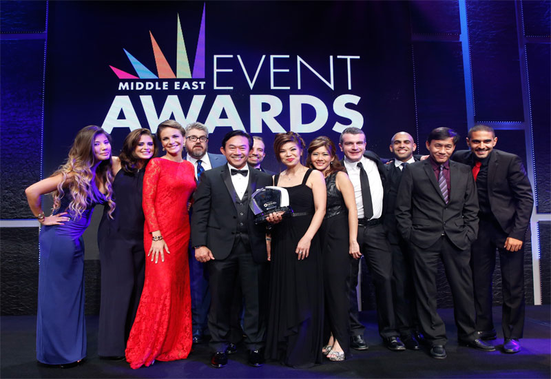 The RedFilo team collecting the Employer of the Year Award at the recent Middle East Event Awards