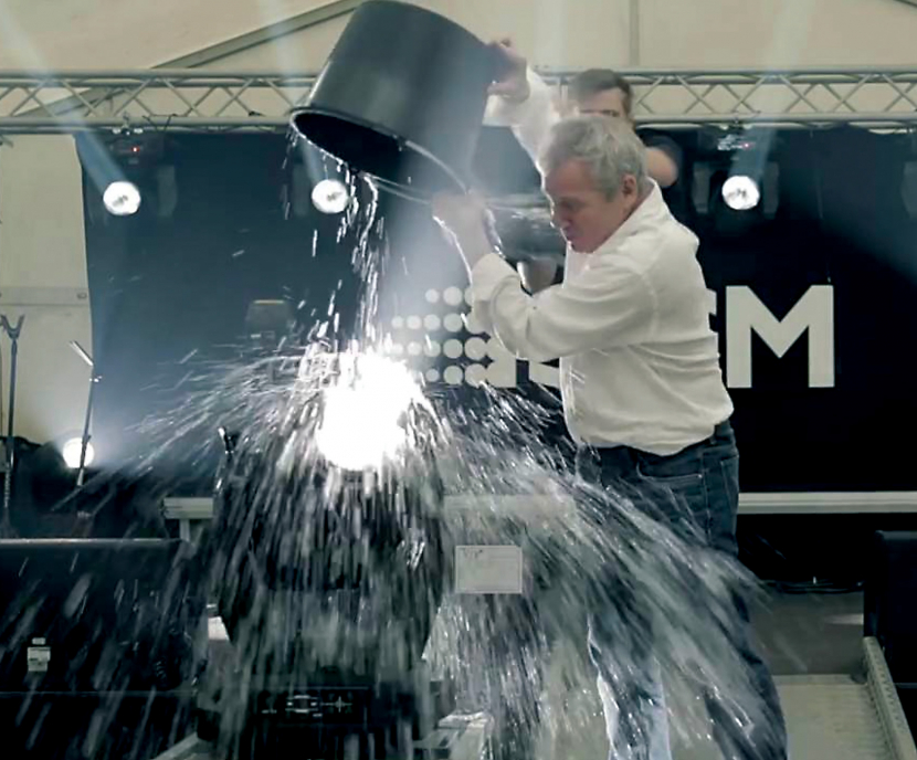 Peter Johansen gives the waterproof moving head a soaking in the name of charity.