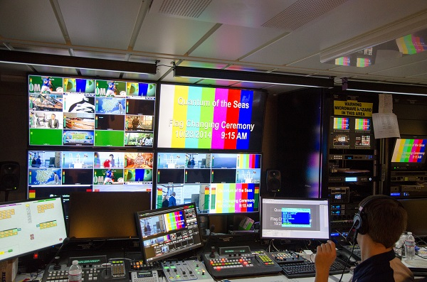 Main broadcast control centre for ship's record 36 IP TV channels