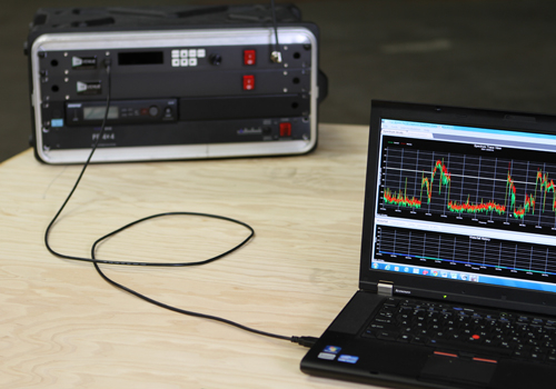 The RF Explorer RackPRO spectrum analyser and RF coordination software.