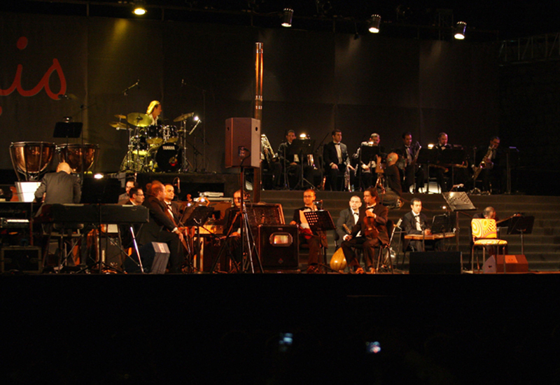 On stage during Ziad Rahbani's recent performance at the Damascus Citadel.