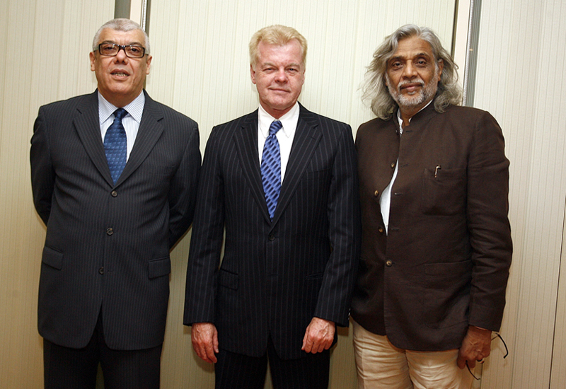 From Left: Mahmoud Bouneb, executive director, Fine Pearl Productions; screenwriter David Ward and Muzaffar Ali, the film's director.