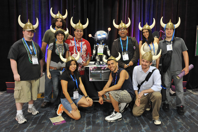 Competitors in this year's FJORG! animation competition (silly Viking hats were not optional).