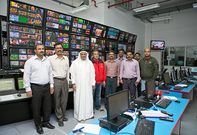 Al Muhaideb and his team in the uplink room where just a fraction of Du's broadcasting operations are monitored