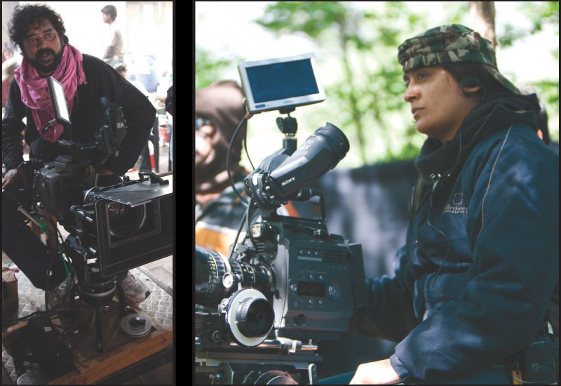 Left: Santosh Sivan, DoP, in a pensive mood. Right: Anjuli Shukla, DoP, first assistant to Sivan on the film and heading the second unit