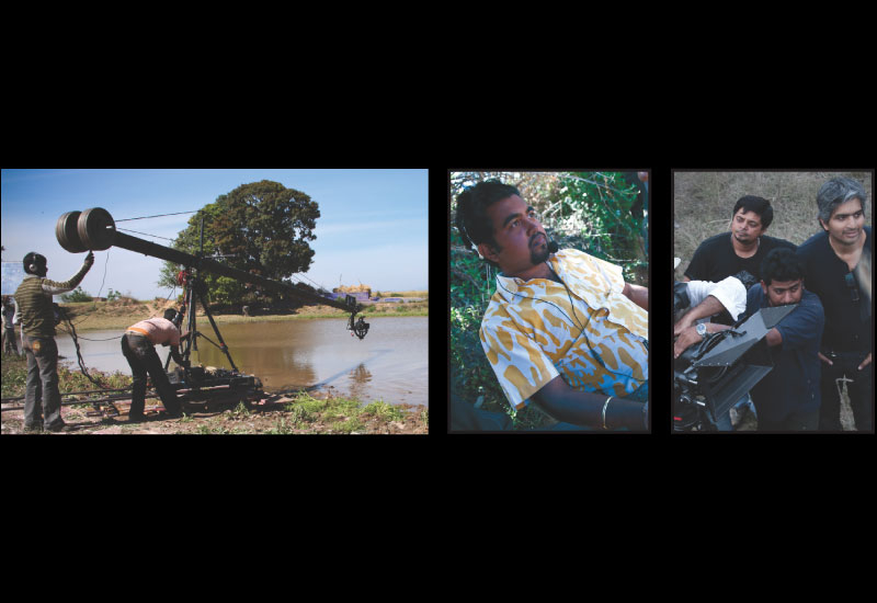 Left: Camera on the jib on location, Middle: Jib operator Lucky on location in Manali, Right: The Sony LMD 940 W monitor which offers true colour view