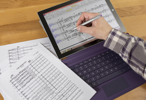 The new Sibelius allows users to write music and add or edit notes easily on the Microsoft Surface Pro 3 tablet with a tap of the pen.
