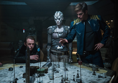 (L-R) Simon Pegg plays Scotty, Sofia Boutella plays Jaylah and Chris Pine plays Captain Kirk in the upcoming Star Trek movie.