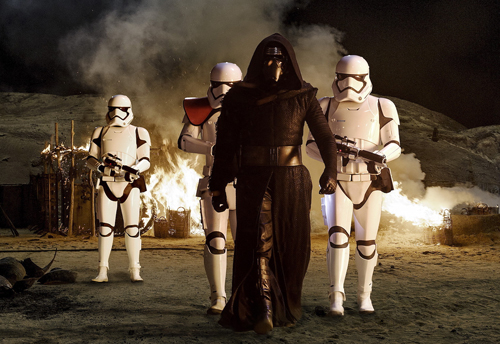 Kylo Ren leads First Order stormtroopers in this official still from the upcoming movie.