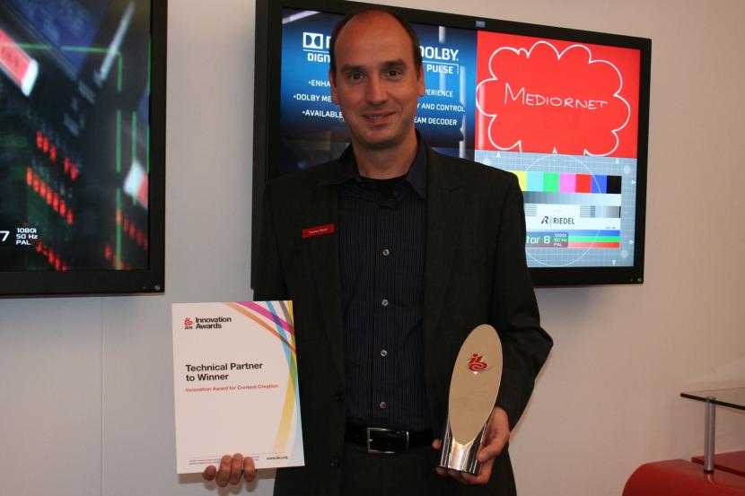 Thomas Riedel, managing director, Riedel, accepts the IBC Innovation Award.