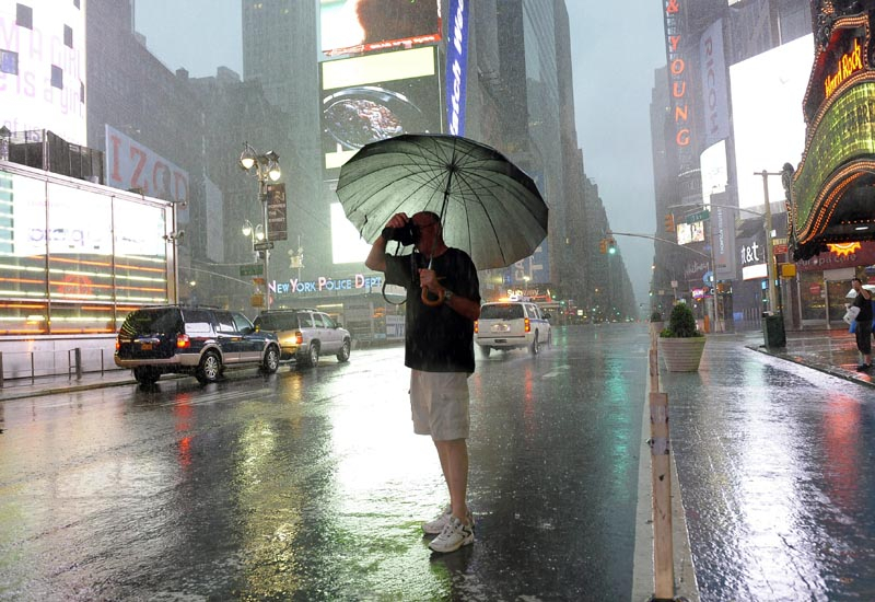 New York's iconic Times Square has been almost deserted in anticipation of Irene.