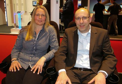 Optocore sales and marketing director Tine Helmle with Fohhn CEO, Jochen Schwarz